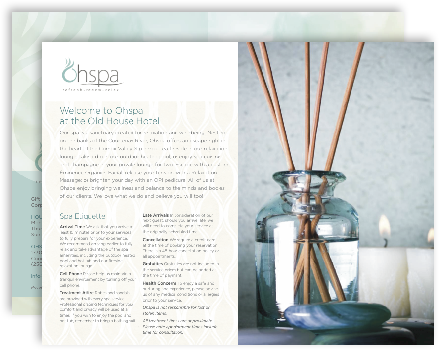 Spa Brochure | Oh Spa Brochure Page Final Old House Hotel Spa